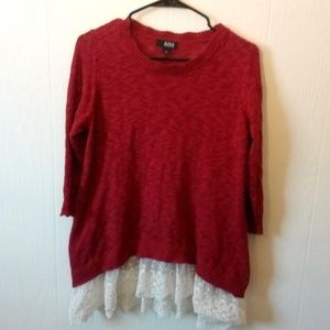 A.n.a. Lightweight Sweater with Lace Hem